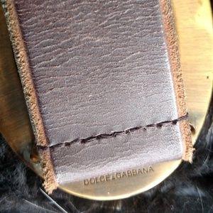 Dolce & Gabbana Accessories - Dolce & Gabbana Belt Brass Buckle Brown Leather 42